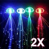 chinkyboo 2 X LEUCHTENDE LED-BELEUCHTUNG, FÜR MÄDCHEN, HAAR-EXTENSIONS, MIT CLIP)