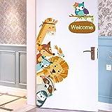 YiniKape Cartoon Animaux Stickers muraux Enfants Stickers Mural pour Enfants Chambres Chambre Armoire Porte Décoration