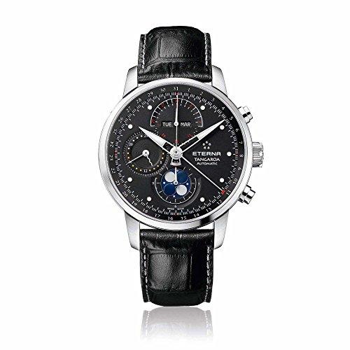 eterna Tangaroa Herren Automatik Uhr mit schwarzem Zifferblatt Analog-Anzeige und schwarz Lederband 2949.41.46.1261