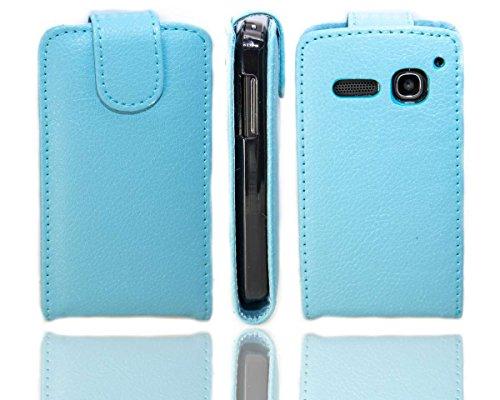 caseroxx Hülle/Tasche Flip Cover passend für Alcatel One Touch S Pop 4030D, Schutzhülle (Handytasche klappbar in hellblau)