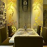 wandaufkleber wandtattoos Ronamick Kreative Kreis Ring Acryl Spiegel Wandaufkleber 3D Home Room Decor Decals (Gold)