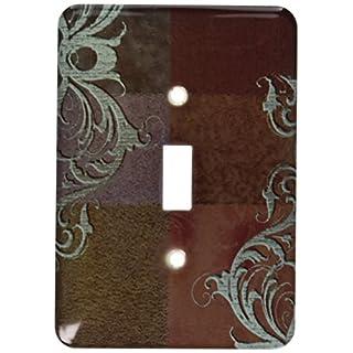 3dRose LSP_55089_1 Aqua Green Elegant Vines On Brown Tones Single Toggle Switch