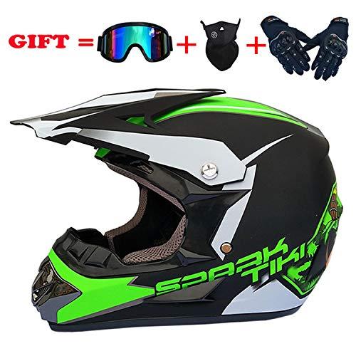 YGFS Trend Motorrad Cross-Country-Helm Mx Full Helmet D. O. T Certified Handschuhe Maske Windschutz (s M L XL)