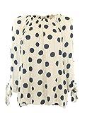 Moda Italia Damen Schlupf Bluse Aus Baumwolle in Carmen Style mit Polka Dots Tupfen Elegante Pump Bluse mit 3/4 Arm