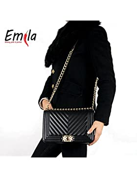 Emila Borsa borsetta pochette da donna trapuntata elegante spalla con tracolla catena in Ecopelle ()