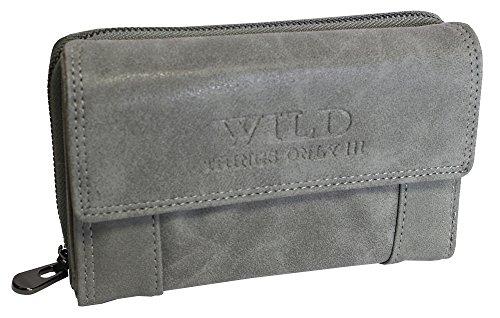 Große Damen Geldbörse | Portemonnaie mit Münzfach Kreditkartenfächer Ausweisfächer Fotofächer | Brieftasche für Frauen - verschiedene Farben XL (11021) (Grau)