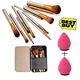 Kylie Makeup Brush Set of 12 with storage box with 2 sponge puff