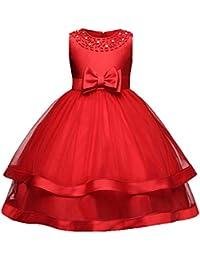 ZhuiKunA Niña Chic Cuello Redondo Fiesta de Baile Princesa Rendimiento Vestidos de Noche