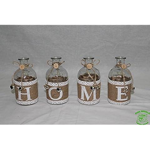 DonRegaloWeb - Juego de 4 botellas de cristal decoradas con la palabra home en color transparente blanco y