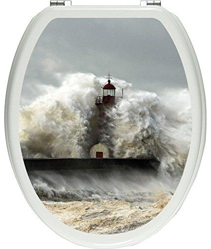 Pixxprint Leuchtturm im Sturm als Toilettendeckel Aufkleber, WC, Klodeckel - Maße: 32x40 cm, Gläzendes Material Toilettendeckelaufkleber, Vinyl, bunt 40 x 32 x 0.02 cm