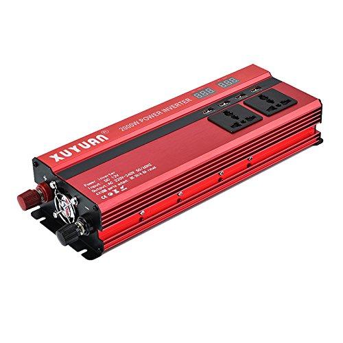 Sunsbell 5000W de Potencia del inversor Solar LED DC12 a AC 220V Convertidor de Onda sinusoidal Rojo (Rojo, 12v-220v)