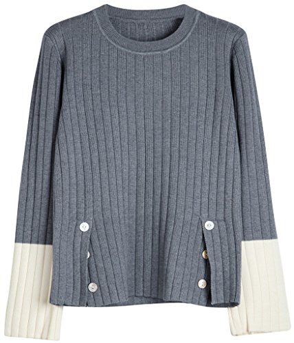 Vogueearth Fashion Hot Femmes Ladies Pleated Knit Jumper Sweater Chandail Tricots Pullover Top Gris-1