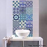 10 Piezas 3D Decorativos Adhesivos para Azulejos Pegatina de Pared, Diseño de Mosaico de La Mar Autoadhesivo para Baño y Cocina, 20cm*20cm