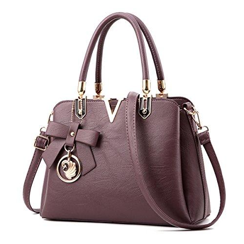 WU ZHI Schulter Messenger Bag Damen PU Große Kapazität Wild Handtaschen Handtaschen Purple