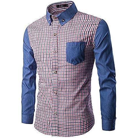 WH New men's long sleeve shirt for fall/winter men's Plaid