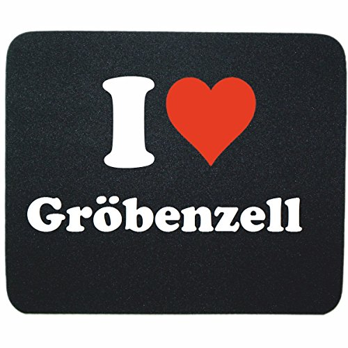 """Exklusive Geschenkidee: Mauspad """"I Love Gröbenzell"""" in Schwarz, eine tolle Geschenkidee die von Herzen kommt- Rutschfestes Mousepad- Weihnachts Geschenktipp"""