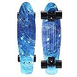 CHIYUAN Mini Cruiser Shortboard Graphic Skateboards 22 Zoll(56cm) Kunststoff-Board im Retro-Stil Fertig Montiert Galaxis