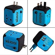 Adaptador Enchufe de Viaje Universal Enchufe Adaptador Internacional con Dos Puertos USB para US EU UK AU acerca de 150 Países y Seguridad de Fusibles para Tableta PC,Smartphones Cámaras Digitales, Reproductores de MP3 para Navidad - Milool (Azul)
