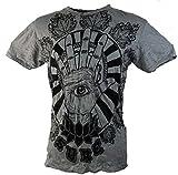 Guru-Shop Sure T-Shirt Magic Eye, Herren, Grau, Baumwolle, Size:M, Bedrucktes Shirt Alternative Bekleidung