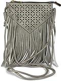 styleBREAKER Minibag Umhängetasche mit Cutout Muster und Fransen im coolen Ethno Style, Schultertasche, Tasche, Damen 02012126, Farbe:Hellgrau