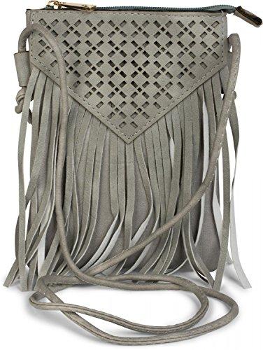 styleBREAKER Minibag Umhängetasche mit Cutout Muster und Fransen im coolen Ethno Style, Schultertasche, Tasche, Damen 02012126, Farbe:Schwarz Hellgrau
