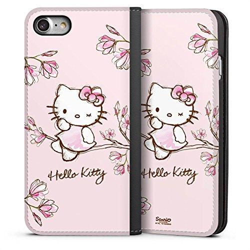 DeinDesign Leder Flip Case kompatibel mit Apple iPhone 7 Tasche Hülle Hello Kitty Merchandise Fanartikel Magnolia