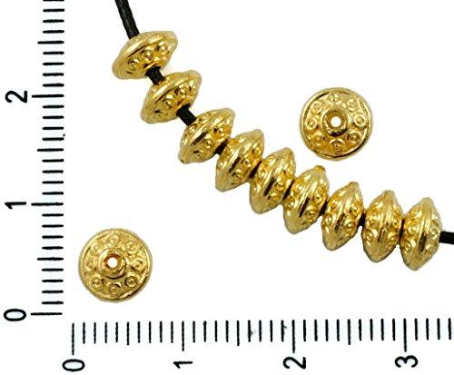 30pcs Antique Gold-Ton, Kleine Spacer Rondelle Flache Runde Perle Bali Bohemian Metal Erkenntnisse 6mm x 4mm