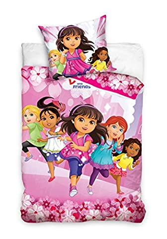 Dora the Explorer and Friends Bedding Duvet Cover 140x200 cm + 70x90 Idea Decorative 100% Cotton