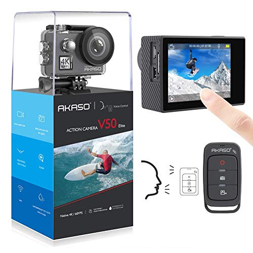 AKASO Action cam 4K/60fps /Action Kamera 20MP WiFi mit Touchscreen EIS 40M unterwasserkamera V50 Elite mit 8X Zoom Sprachsteuerung Fernbedienung Zubehör Kit Sportkamera -