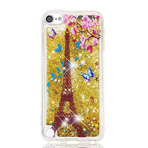 Miagon Flüssig Hülle für iPod Touch 5/6,Glitzer Weich Treibsand Handyhülle Glitter Quicksand Silikon TPU Bumper Schutzhülle Case Cover-Gold Turm Blume