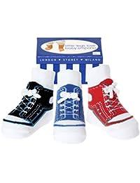 Baby Emporio - Baby Anti-Rutsch-Socken im Schuh-Design für Jungen - weiche Baumwolle - mit Geschenkkarton - 0-9 Monate - 3 Paar