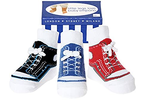 Baby Emporio - 3 paires de chaussettes pour bébé garçon - coton doux/antidérapantes - coffret cadeau - 0-9 mois - Baskets garçons