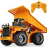 LKW spielzeug für kinder, Vicoki Legierung 1:18 Kettenantrieb 6 Kanal Ferngesteuert Simulation Engineering Fahrzeug mit Motorsound und Licht,