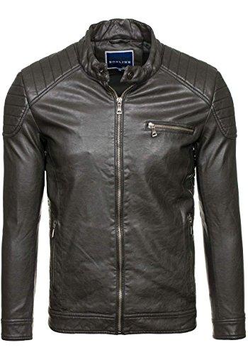 BOLF Ökolederjacke Herrenjacke Sweatjacke Zipper Sweatshirt FEIFA FASHION 9103 Dunkelgrau_8816