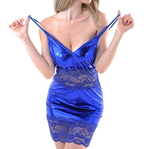 Chemise de nuit en dentelle pour Femmes, Toamen Dentelle Sous-vêtements en cuir Artificiel Mode (Bleu)