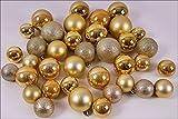 Christbaumkugeln 37er Set - Farbe: Gold - Durchmesser 4/5/6 cm - Weihnachtskugeln