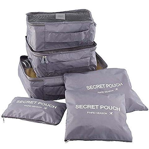 YSBER 6 Pcs Packing Cubes Set, 6 verschiedene große wasserdichte Nylon Travel Gepäck (Disney Tinkerbell Licht)