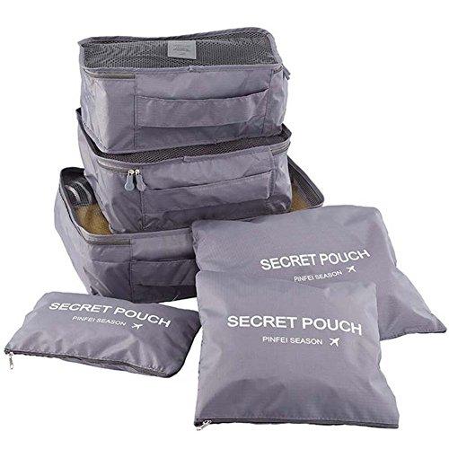 YSBER 6 Pcs Packing Cubes Set, 6 verschiedene große wasserdichte Nylon Travel Gepäck Organizer(Grau) Mesh-schule-rucksäcke