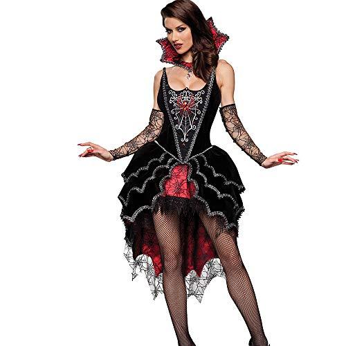 Kostüm Vampir Puppe - WANLN Erwachsene Königin der Vampire Kostüm Halloween Kostüme für Frauen Sexy Cosplay Schwarz Gothic Lolita Kleid Fantasy,OneSize