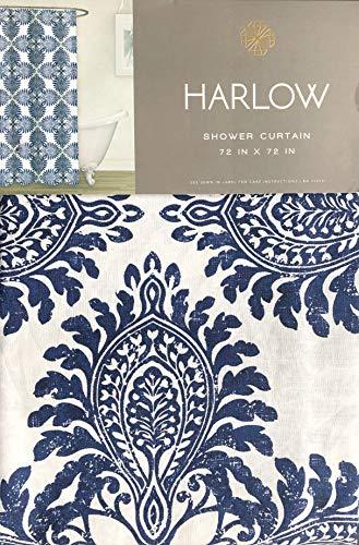 Harlow Designer Duschvorhang groß geometrisch Bedruckt Holzblock Stil Boho Medaillon in Blau auf Weiß Leinen Baumwolle Mischung - Blaue Baumwolle Mischung