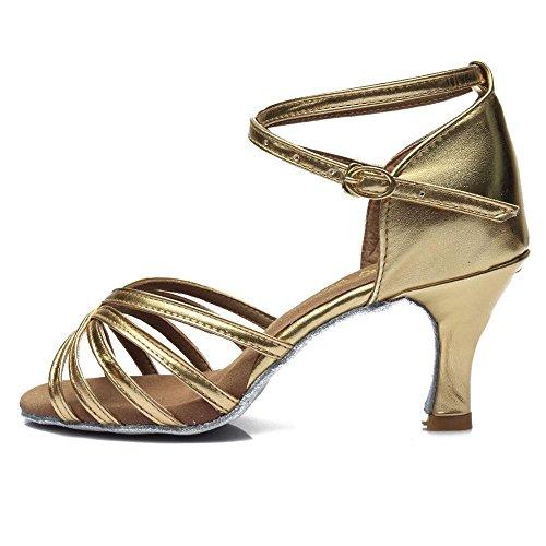 YFF Donna Tango/sala da ballo/ballo latino scarpe da ballo salsa con tacco Professional scarpe da ballo per ragazze Ladies 5cm/7cm 7cm heels gold