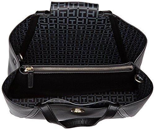 Tommy Hilfiger Damen Tommy Med Work Bag Umhängetasche, Schwarz (Black/ Logo), 13.5x24.5x33 cm