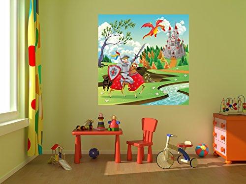 selbstklebende Fototapete - Kinderbild - Ritter und Drachen - 100x100 cm - Tapete mit Kleber – Wandtapete – Poster – Dekoration – Wandbild – Wandposter – Wand – Fotofolie – Bild – Wandbilder - Wanddeko