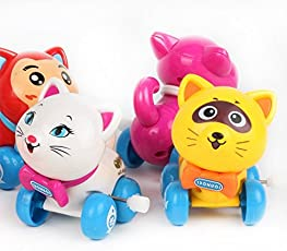 Emob Cute Cat Toys Set with Winding Chain and Moving Wheels Feature for Toddlers (Cat)
