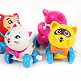 #5: Emob Cute Cat Toys Set with Winding Chain and Moving Wheels Feature for Toddlers (Cat)