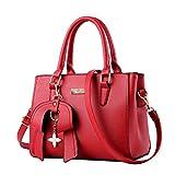 MINICE Damen Handtasche Heiße Elegante Tasche-Leder Schultertasche Handtaschen Umhängetasche Mit Bogen Anhänger(Rot)