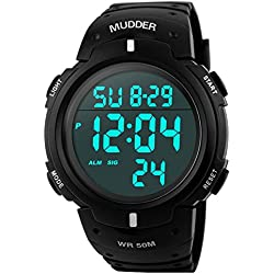 Mudder Men Sports 5ATM Dive Waterproof Blacklight Digital Fashion Military Multifunctional Wristwatches