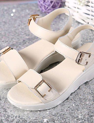 LFNLYX Chaussures Femme-Bureau & Travail / Habillé / Décontracté-Bleu / Rose / Beige-Talon Plat-Compensées / Creepers-Sandales-Cuir beige