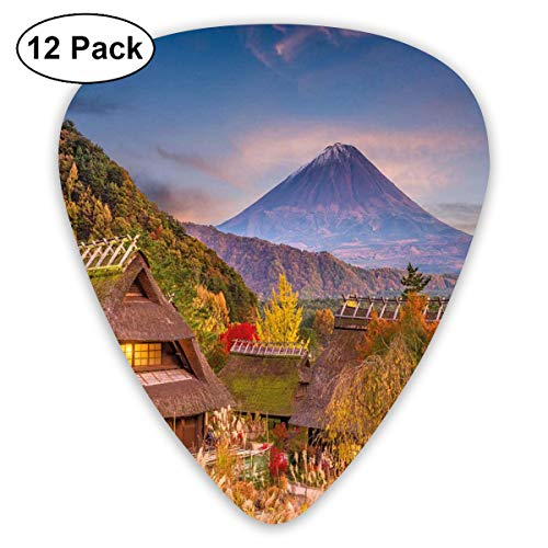 Celluloid Guitar Picks - 12 Pack,Abstract Art Colorful Designs,Japanese Landscape With An Old Village Natural Rural Scenery Bushes And Highlands,For Bass Electric & Acoustic Guitars.