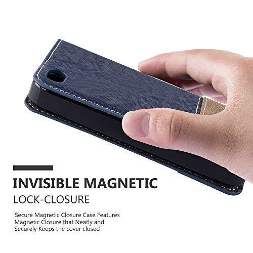 Cadorabo - Etui Housse pour Apple iPhone 4 / 4S avec Fermeture Magnétique Invisible (stand horizontale et fentes pour cartes) désign Similicuir-similicuir de cerf - Coque Case Cover Bumper Portefeuill NOIR-BLEU